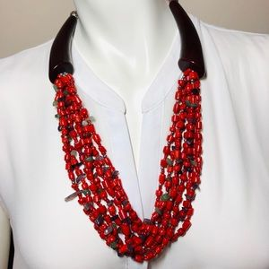 Tribal Red-Orange, Chocolate & Silver Accent Nklc